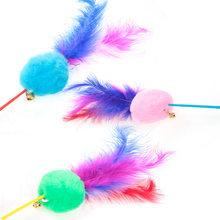Cat Feather  Teaser Toys Kitten Funny Colorful Rod Wand Plastic Pet Interactive Stick Supplies