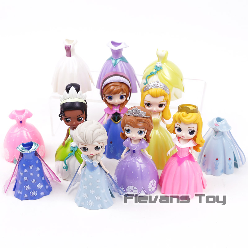 Q Posket Princesses Action Figures Toys Dolls 12pcs/set Elsa Anna Sofia Amber Aurora Tiana Dress can be changed
