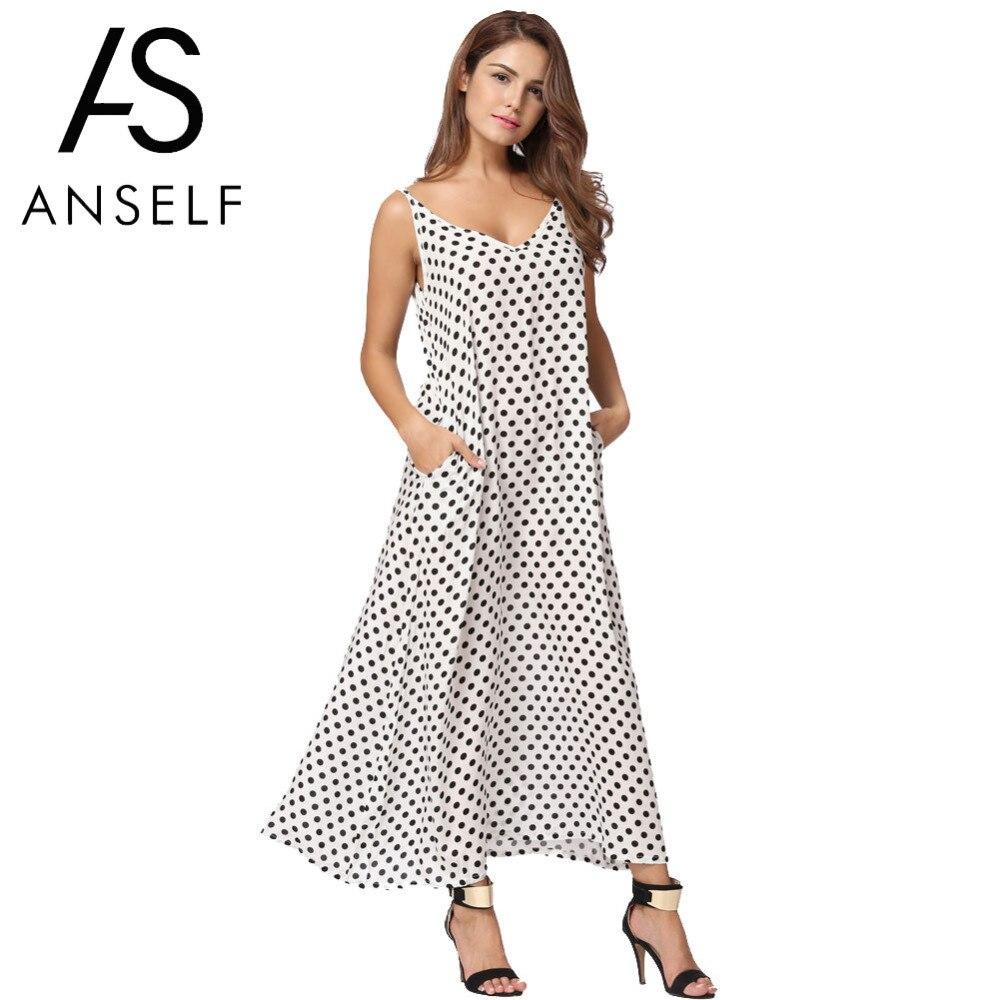 Anself 2018 delle Donne di Modo di Polka Dots Maxi Vestito Lungo Casual Della Spiaggia di Estate Vestiti Da Partito Chiffon Abito Sexy Vestito Da Boho abiti