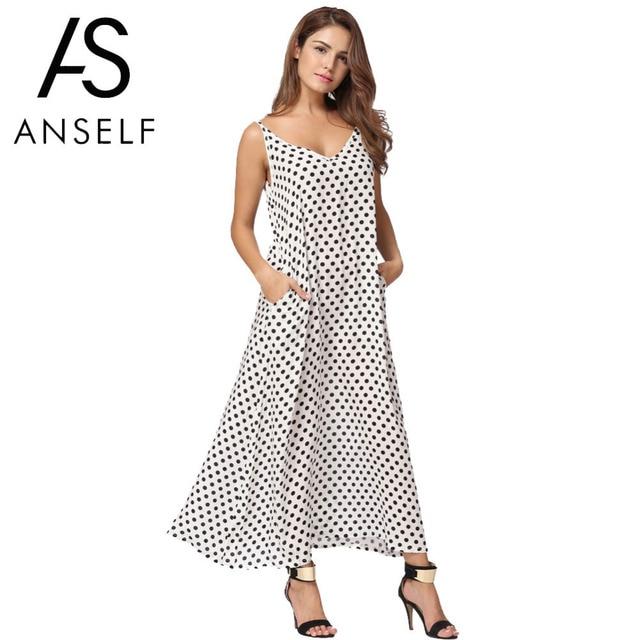 13df75225 Anself 2019 أزياء المرأة منقطة ماكسي فستان طويل عارضة الصيف شاطئ الشيفون  حزب فساتين رداء مثير
