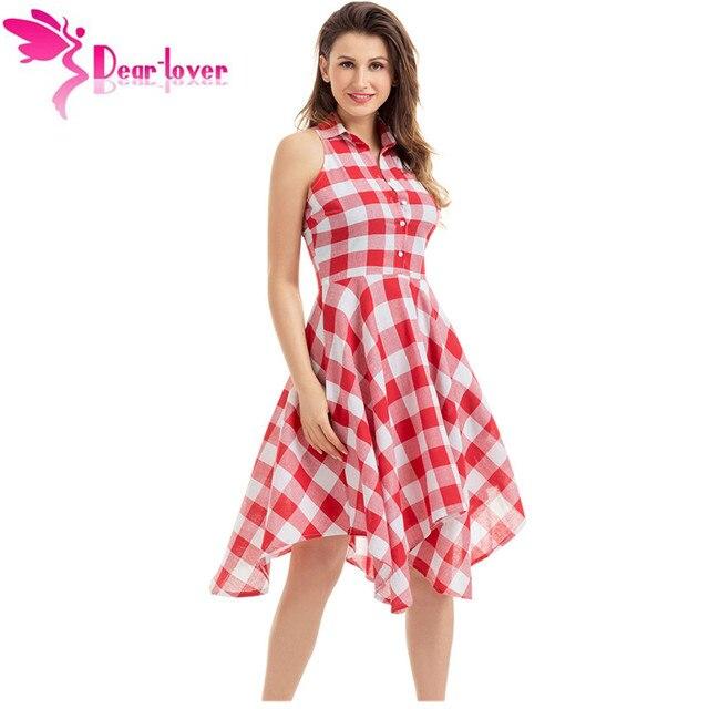 Dear-Lover plaid dresses Fashion Casual Summer Office Ladies Blue/Black White Gray Checks Flared Shirt Dress Robes Femme LC61513