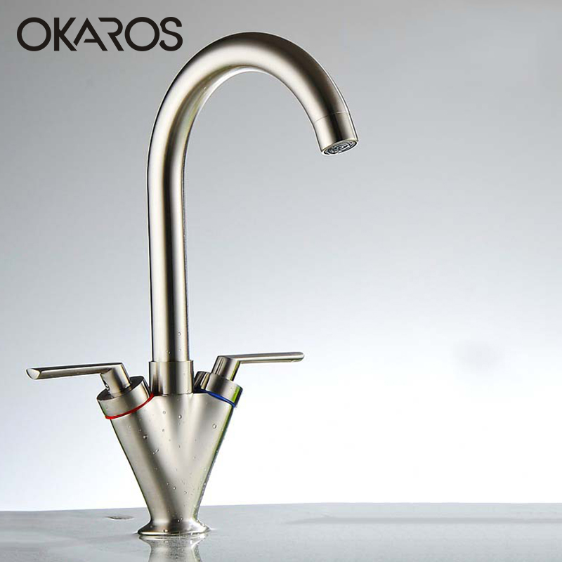 OKAROS Kitchen Faucet Dual Handle Solid Brass Chrome Nickle Brush White Paint Oil Rubbed Black Finish