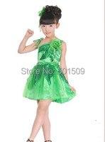 ילדי משלוח חינם בנות הירוק גליטר פאייטים פרחוני ריקוד לטיני / baleet שמלת פיה ירוקה תחפושת תלבושות