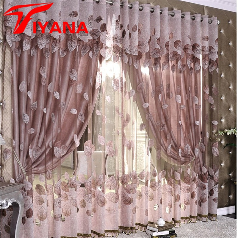 Luxury Modern Leaves Designer Curtain Tulle Window Sheer Curtain For Living Room Bedroom Kitchen Window Screening Panel P347Z30 tulle curtains 3d printed kitchen decorations window treatments american living room divider sheer voile curtain single panel