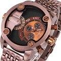 OULM Luxury Brand Мужчины Папа Кварцевые часы Твердого Металла Ремешок Японии движение в Стиле Милитари 2 Часовой пояс Часы DZ Человек + Подарок коробка