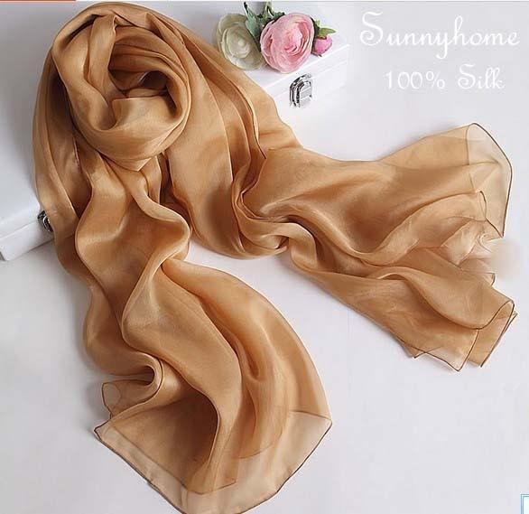 Silk Women Scarf 2016 100% Pure Silk Scarves Ginger Yellow Muslim Arabic Hijab Silk Beach Towel Pashiminas beach towel
