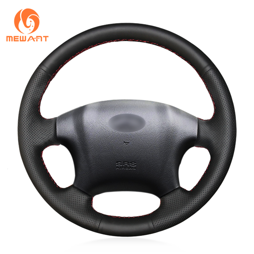 MEWANT Black Artificial Leather Car Steering Wheel Cover for Hyundai Tucson 2005 2006 2007 2008 2009 first layer leather car steering wheel cover for 2003 2004 2005 2006 2007 2008 2009 kia sorento braid on the steering wheel