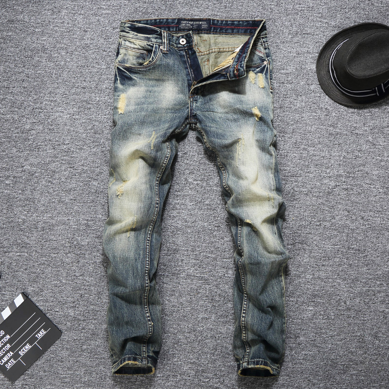 Italian Vintage Style Fashion Men Jeans Retro Wash Slim Fit Ripped Jeans Denim Casual Pants Brand Designer Classical Jeans Men