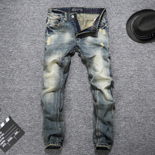 Italian Vintage Style Fashion Men Jeans Retro Wash Slim Fit Ripped Jeans Denim Casual Pants Brand Designer Classical Jeans Men недорго, оригинальная цена