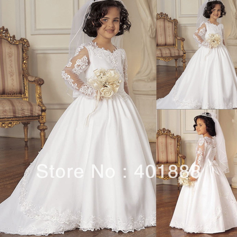 2014 Beautiful Long Sleeve Lace Applique Long Tail White Kids Wedding Dresses Wedding Dress Red Wedding Dress Australiawedding Dresses From China Cheap Aliexpress