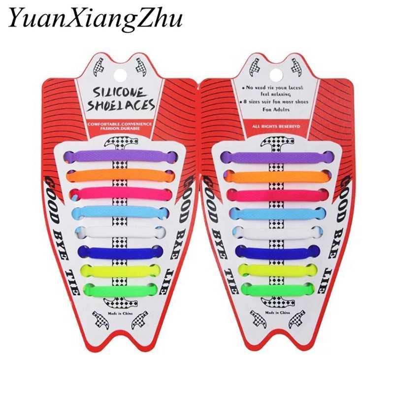16 adet/grup elastik silikon ayakabı Sneakers ayakkabı bağı hiçbir kravat ayakkabı dantel erkekler kadınlar bağcık ayakkabı kauçuk ayakkabı bağı