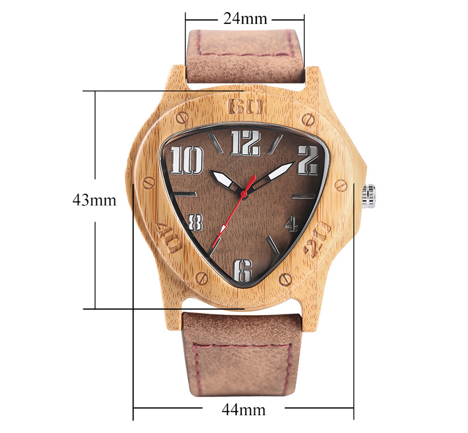 genuine leather band pink buckle quartz bamboo watches14