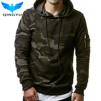 QINGYU 2017 New Mens Hoodies And Sweatshirts Hooded Sweatshirts Male Fashion Military Hoody For Men Camouflage