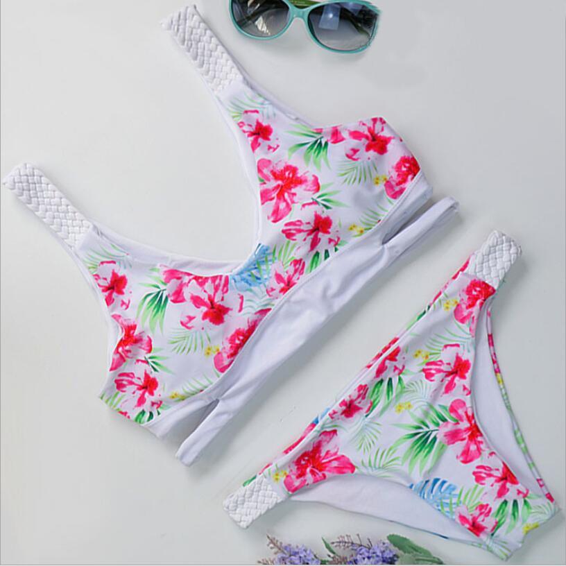 Hot Design Weave Bandage Style Print Brazilian Bikini set Braided Push UP Swimsuit Bikinis Low Waist Biquinis Feminino Swimwear