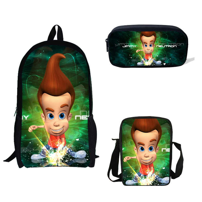 BULEFLYER 3 pçs/set Escola Sacos Jimmy Neutron Escola Bookbag Bagpack para Adolescentes Meninos Crianças Mochilas Mini bolsa de Ombro único