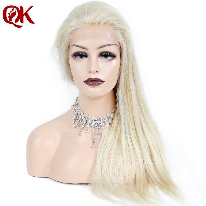 QueenKing hair Brazilian Human Blonde Hair 130 Density Full lace 613 Silky Straight Remy Wigs For