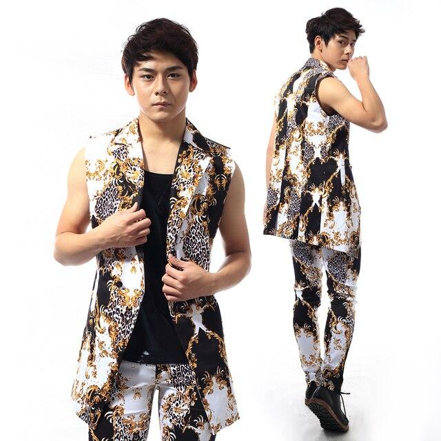 2015 nuevo estilo para hombre estampado de leopardo delgado conjunto chaqueta Nightbar cantante rendimiento etapa trajes