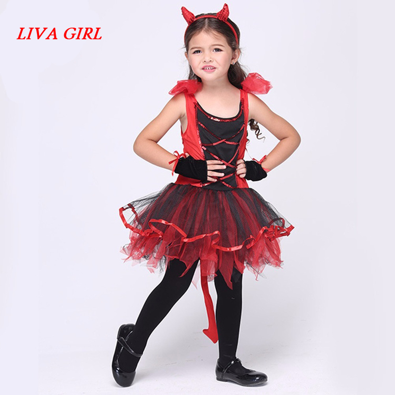 LIVA GIRL halloween Cat Gril costume for kids girls little red devil costumes sets girls halloween outfits