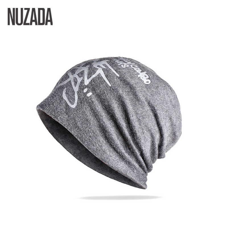 Marka NUZADA mektup Hedging kap erkekler kadınlar Skullies Beanies örgü örme Caps Bonnet çift katmanlı pamuk şapka sonbahar kış