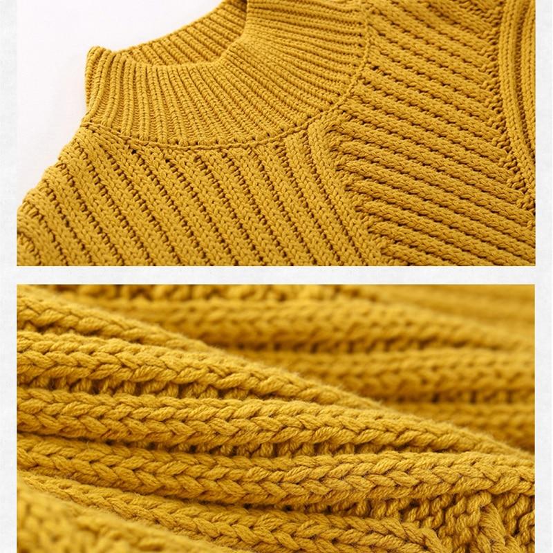 Toyouth Col Roulé Femmes pull solide Surdimensionné à manches longues Tordu Pulls pulls décontracté Pulls Suéter Mujer - 5