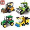 Ciudad enlighten serie carretilla elevadora sweeper coche camión de la construcción de mini bloques de construcción educativa juguetes compatibles con lego