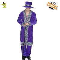 Hot Sale Men's Pimp Costume Funny Fancy Dress For Halloween Party Masquaeade New Arrival Pimp Cosplay Costumes