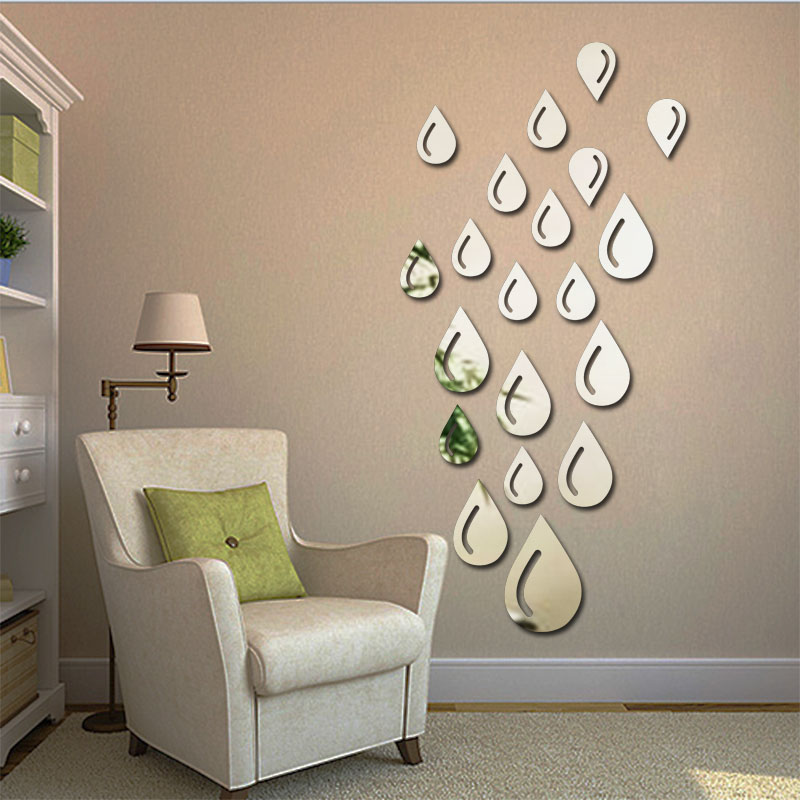 Fundecor new design droplets raindrops acrylic mirror for Wall stickers for bedrooms interior design