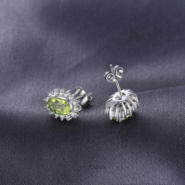 Princess Diana Natural Peridot Halo Stud Earrings