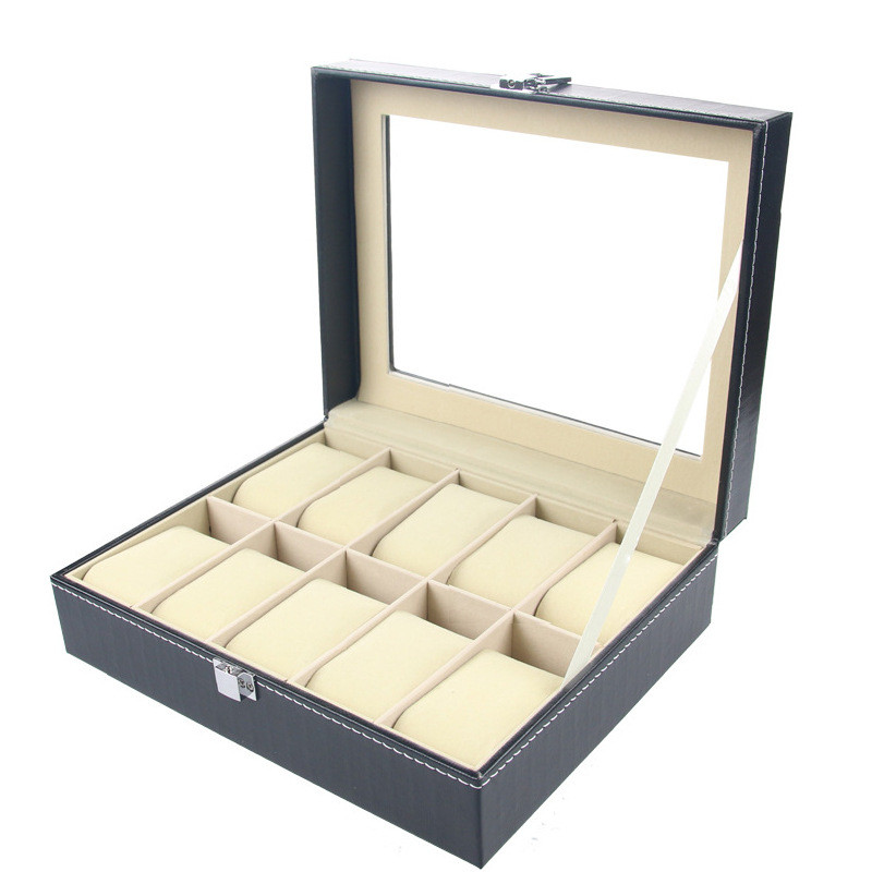 10 Grid Slots Jewelry organizer Watches Boxes Display Storage Box Case Leather Square jewelry