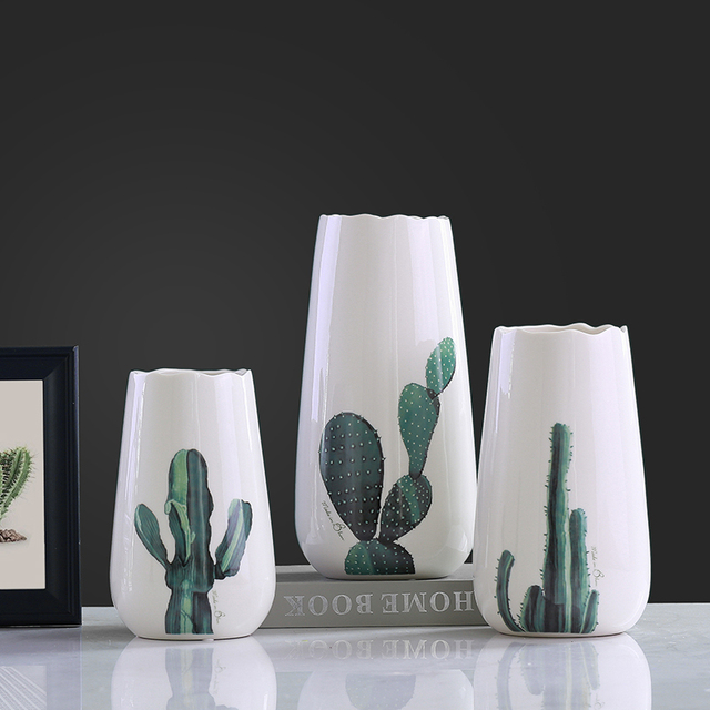 Modern Ceramic Concise Fashion White Flowers Vase Pot Cactus Vases Home  Decor Crafts Room Decoration Objects