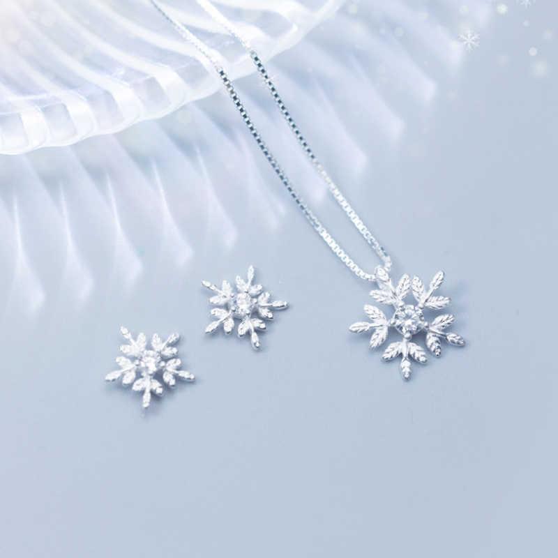 100% 925 solide Echt Sterling Silber Schöne Schneeflocke Stud Ohrring Anhänger Kurzen Choker Halskette Für Mädchen Frauen Schmuck