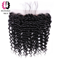 MsToxic Pre Plucked Peruvian Deep Wave Frontal Closure NonRemy Human Hair Frontal 13x4 Lace Frontal Closure With Baby Hair