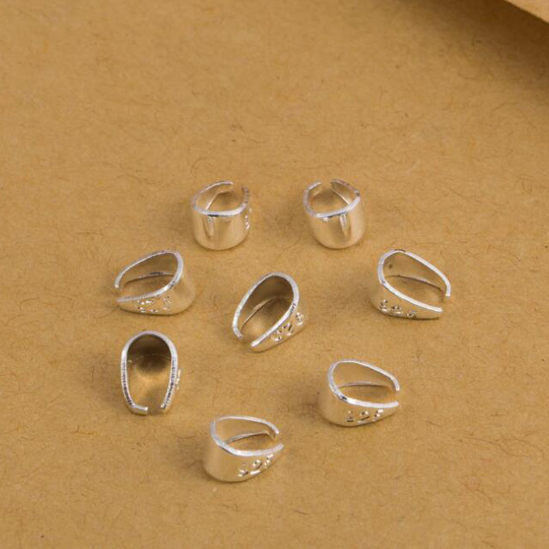 50PCS DIY 3Size Findings 925 Sterling silver Bail Bale Pinch Clasp For Pendant