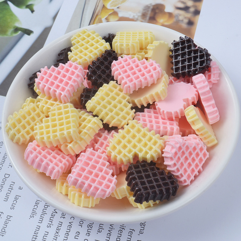 10pcs/pack Pretend Biscuits Slime Accessories Toys Resin DIY Mini Slime Supplies Filler For Fluffy Clear Slime