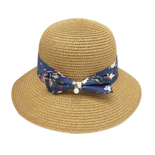 Summer Women's Straw Hat Loose Visor Collapsible Fisherman Hat Small Floral Bow Fisherman Hat Leisure Holiday Hat