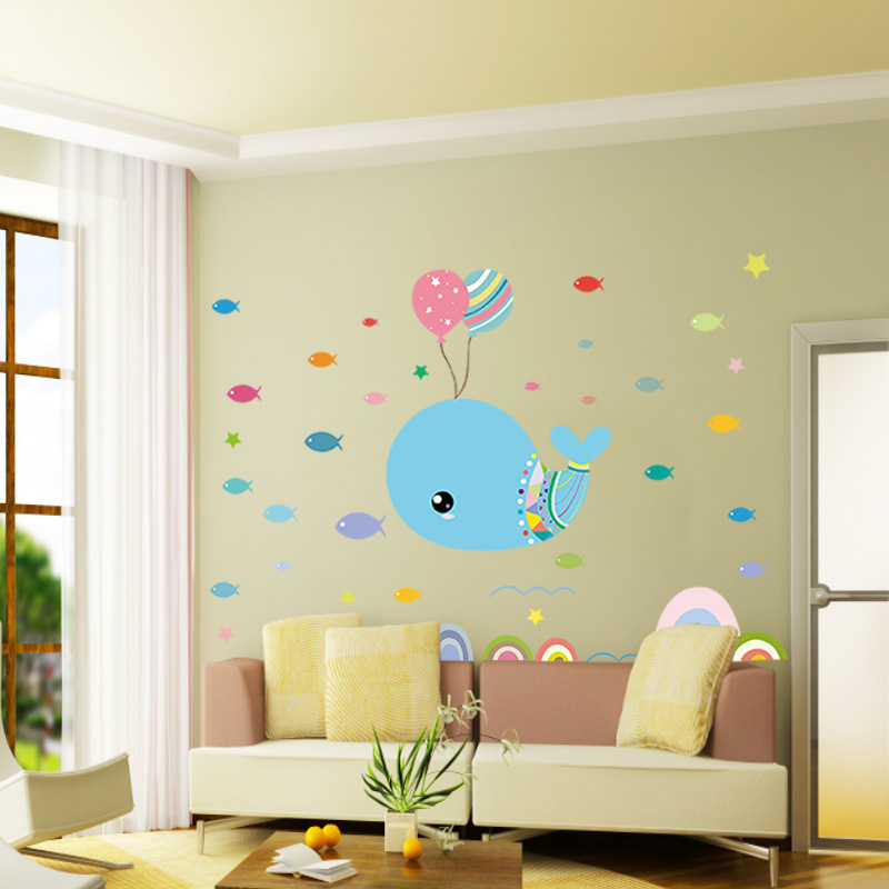 Adorable Cuteness Ballon Whale and Tiny Tropical Fishes Kids Bedroom ...