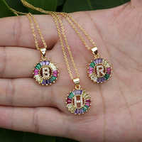 1 Pcs New Fashionable Rainbow Gold Micro Pave Rainbow CZ Cubic Zirconia A-Z Initials Letter Pendant Necklaces For Women Jewelry