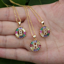 1 Pcs New Fashionable Rainbow Gold Micro Pave Rainbow CZ Cubic Zirconia A-Z Initials Letter Pendant Necklaces For Women Jewelry(China)