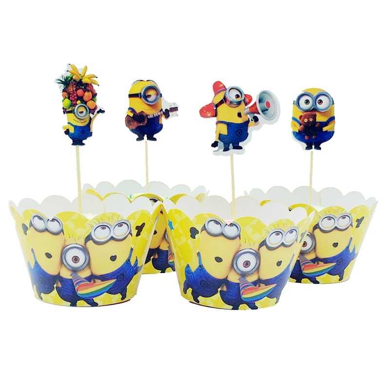 24 piezas Minions de dibujos animados Despicable papel Cupcake envoltorios Topper Candy Box para niños cumpleaños fiesta suministros pastel tazas Decoración