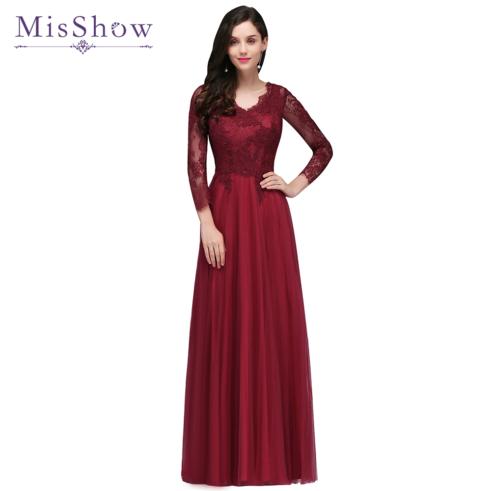 Robes de soiree Evening dress 2019 Burgundy Lace Tulle Long Sleeve Formal Party Evening dresses Gown