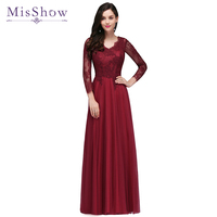 Robes de soiree Evening dress 2019 Burgundy Lace Tulle Long Sleeve Formal Party Evening dresses Gown Long vestido de festa New