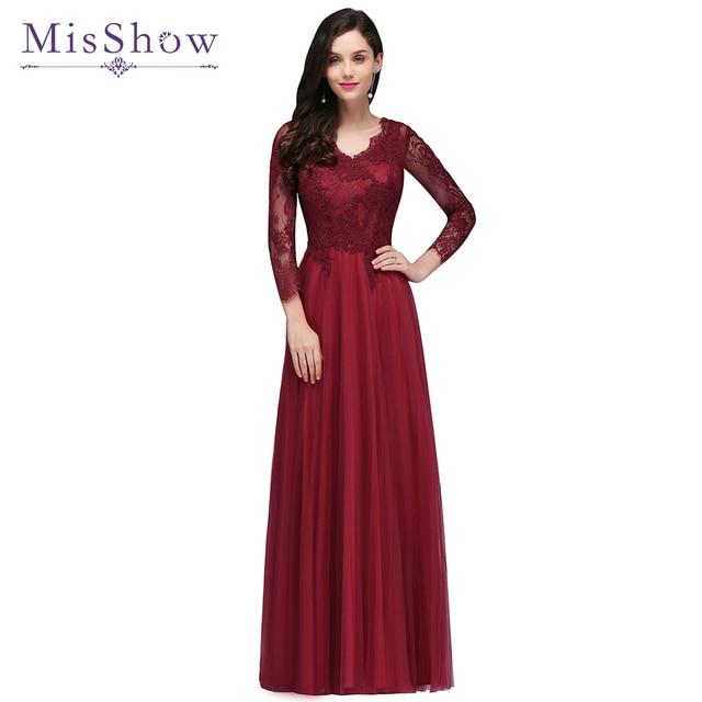 83e23633b3 Robes de soiree Evening dress 2019 Burgundy Lace Tulle Long Sleeve Formal  Party Evening dresses Gown Long vestido de festa New