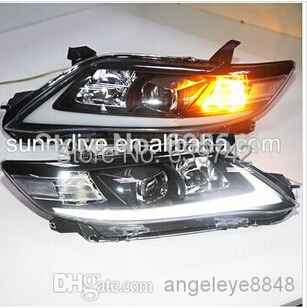 For TOYOTA North American Camry LED Strip Headlights projector lens 2006 to 2009 year Black Housing