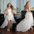2016 nova frete grátis! Preço barato! Mulheres querida dianteiro curto voltar longo branco / marfim vestidos de casamento OC3399