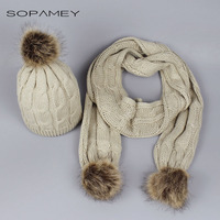 Adult Knitted Scarf And Hat Set Luxury Winter Warm Crochet Hats And Scarves With Real Fur