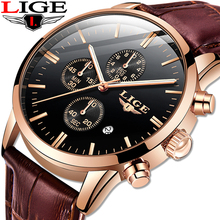 2019 LIGE Watch Men Leather Sport Chronograph Mens Watches Top Brand Luxury Business Waterproof Quartz Watch Relogio Masculino lige watch men sport quartz wristwatches leather mens watches top brand luxury waterproof business watch man relogio masculino