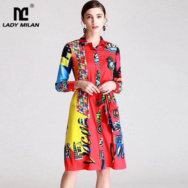 New Arrival Womens Turn Down Collar Long Sleeves Printed Sash Belt Fashion Casual Shirt Dresses