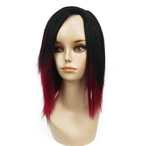 Image 2 - StrongBeauty của Phụ Nữ Ngắn Straight Bob wig Sâu rượu Mix Đen Tự Nhiên Tổng Hợp Full Tóc Giả
