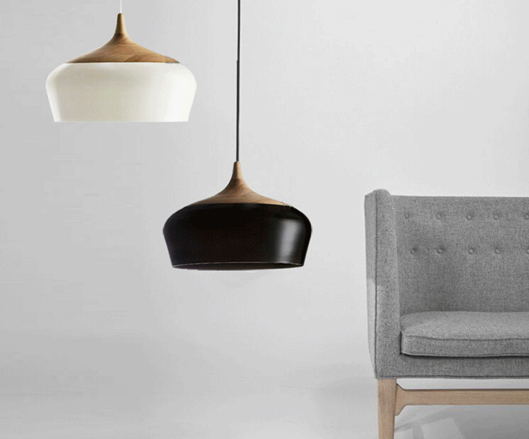 buy modern lamps pendant lights wood and aluminum lamp black white