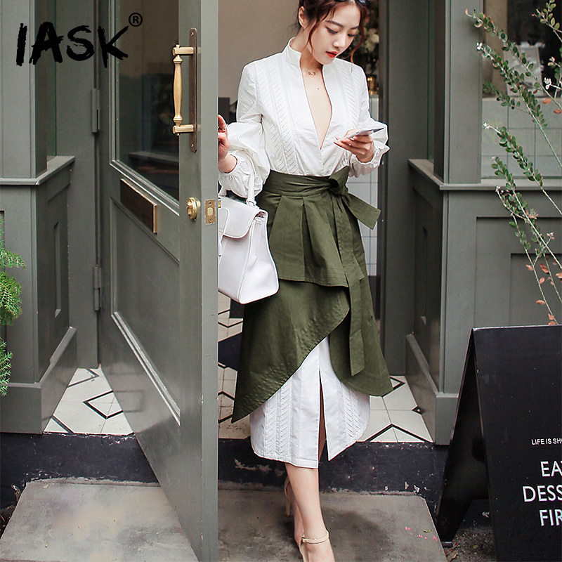 SHENGPALAE 2018 New Summer Autumn V-collar Long Sleeve Army Green Half-body Skirt Two Piece Suits Women Fashion Tide JA982 все цены